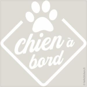 stickers autocollants chien à bord blanc