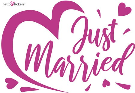 Stickers autocollant mariage Just married