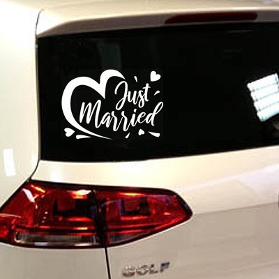 stickers vive les mariés just married pour voiture