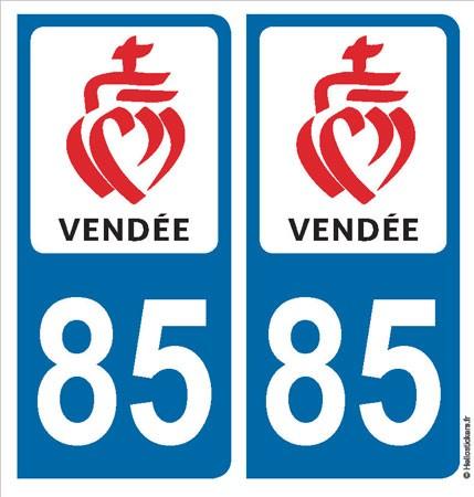 autocollant adhésif sticker Vendée département 85 blason pour plaque immatriculation
