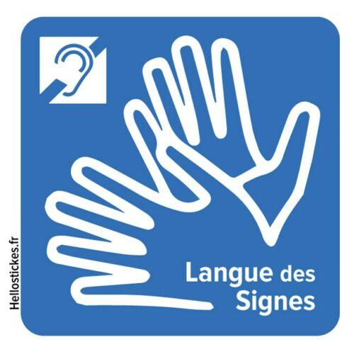 030119b stickes autocollants langues des signes LSF handicap sourds malentendants pour voiture vitre porte