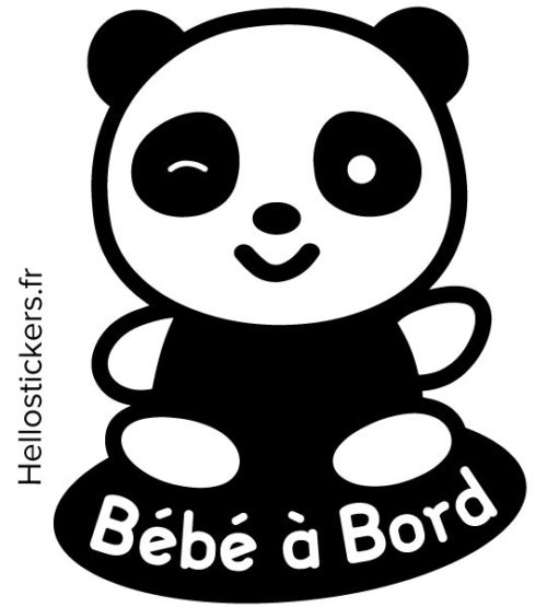 050119b panda stickers autocollants Bébé à Bord panda Winnie Disney