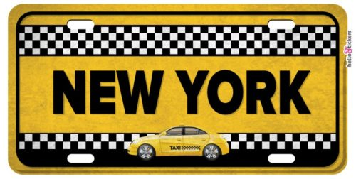 sticker plaque taxi new-york autocollant adhesif pour décoration maison