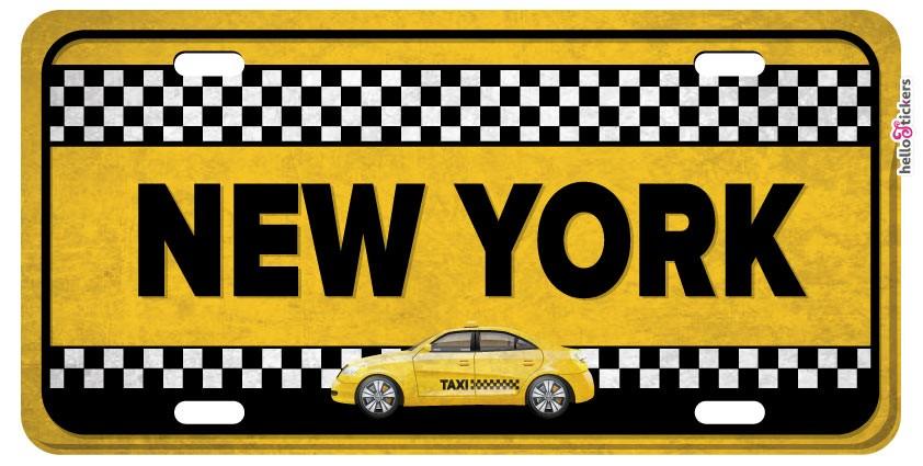sticker plaque taxi new-york autocollant adhesif pour décoration maison