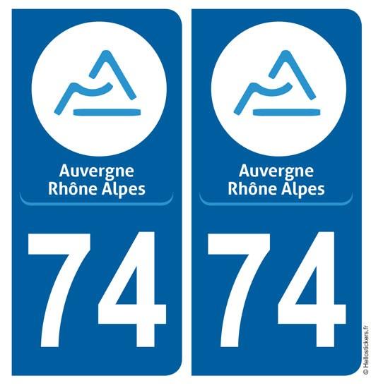 Autocollant sticker Haute Savoie, département 74, Auvergne Rhône Alpes pour plaque immatriculation auto