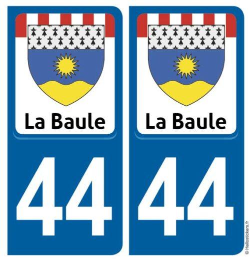 sticker autocollant immatriculation La Baule 44 plaque département Guérande