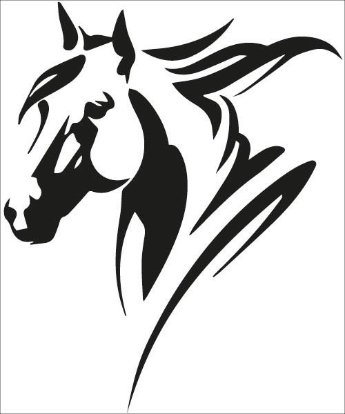 010519 sticker autocollant cheval equitation remorque cheval tete cheval noir