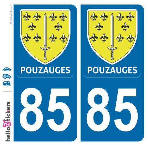 Pouzauges département Vendée adhésif sticker pour plaque immatriculation autocollant blason