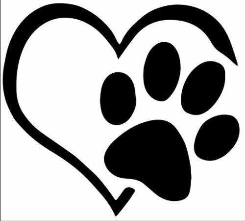 190519b sticker autocollant animal a bord coeur patte chien chat voiture