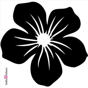 010619 autocollant sticker fleur tribal hawai noir