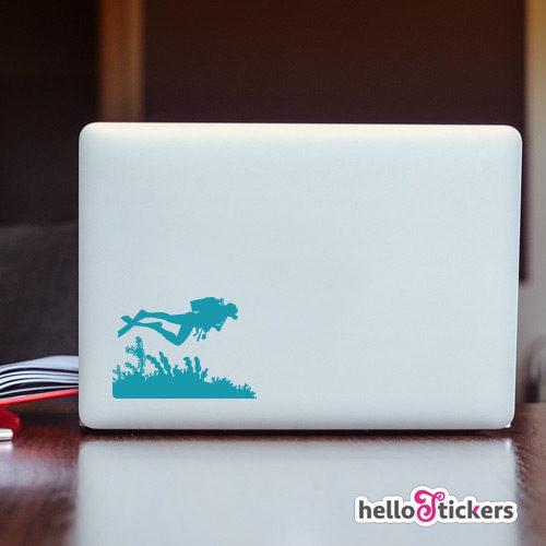 040719b sticker autocollant plongée plongeur adhesif pour ordinateur pc mac
