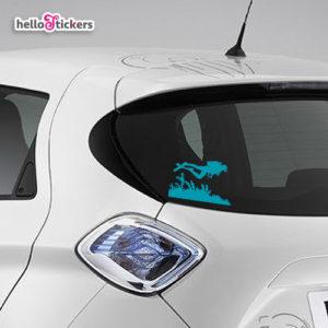 040719b sticker autocollant plongée plongeur adhesif pour voiture vehicule