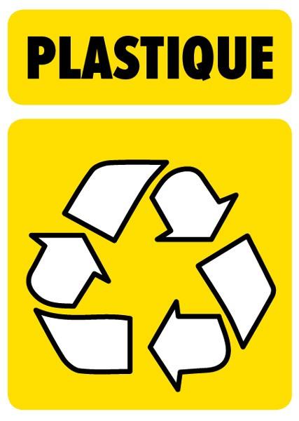 sticker autocollant symbole tri sélectif plastique pour poubelles
