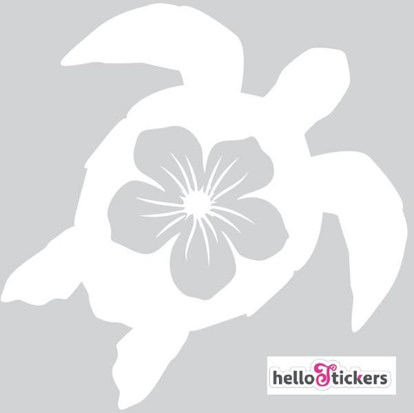 270719 sticker autocollant tortue marine et fleur hawaïenne