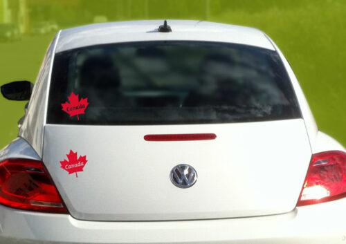 sticker autocollant feuille erable canada rouge pour voiture ordinateur