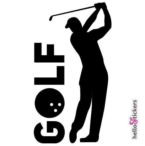stickers autocollant golf golfeur pour voiture ordinateur pc mac noir